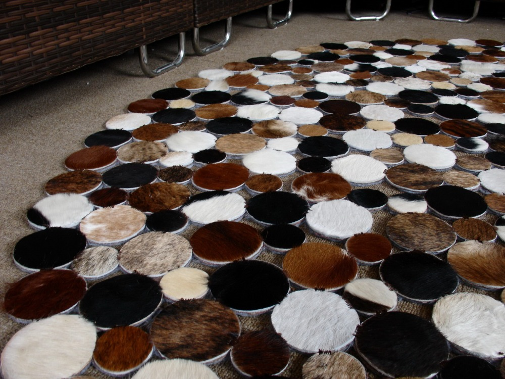 2017 Unique New Cowhide Leather Natural Rug Round Carpet Europe Style  2m/6.5ft In