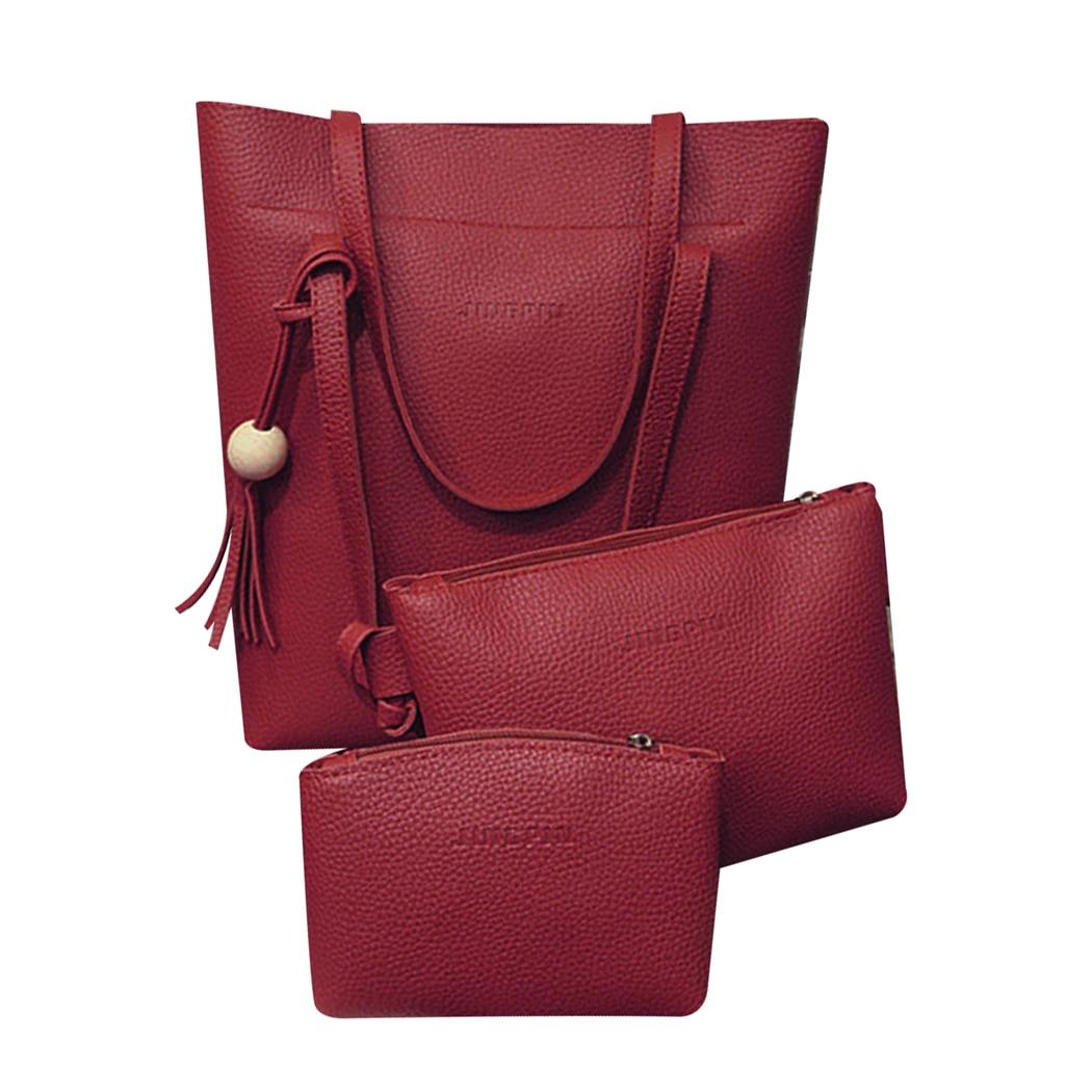 Baellerry 3pcs/sets Women Composite Bag Pu Leather Handbag Female Simple Crossbody Bag Messenger Shoulder Bag Mini Card Purse Top-handle Bags Luggage & Bags