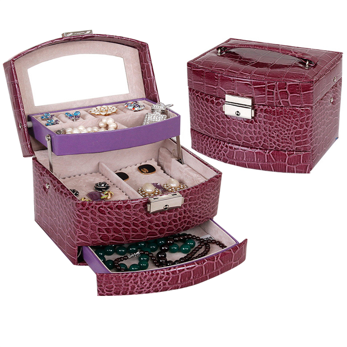 Laspera Multilayer Automatic Leather Jewelry Box Three-layer Storage Box For Women Earring Ring Cosmetic Organizer Casket