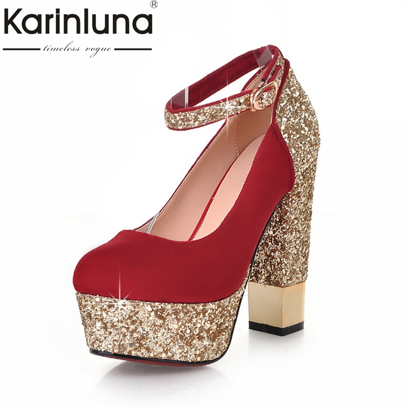KarinLuna 2018 Large Size 32-43 Bling Upper Brand Women Pumps Shoes High Heels Sexy Party Wedding Bride Woman Shoes baoyafang white red tassels women wedding shoes bride 12cm 14cm high heels platform shoes woman high pumps female shoes