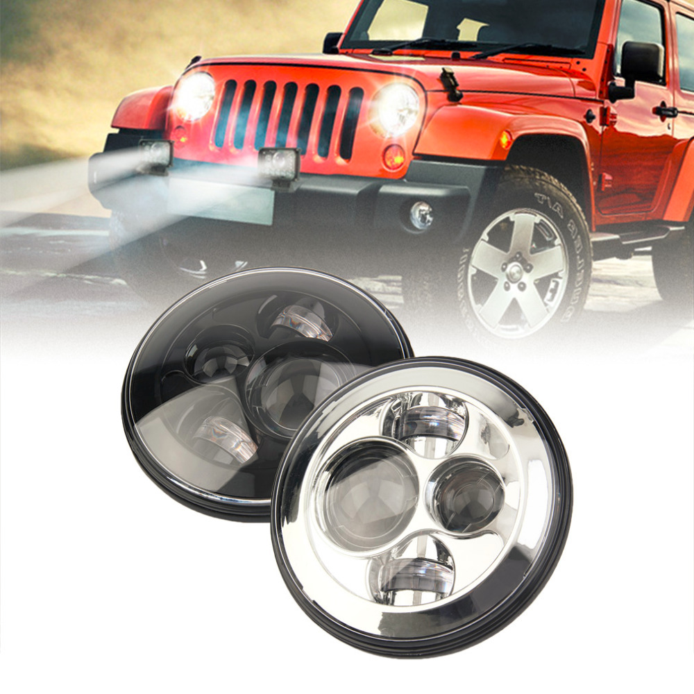 SK-700 Angel Eyes 7 Inch Round LED Headlight For Wrangler JK TJ CJ H4 High & Low Beam Front Driving Headlamp Styling Hot Sale 2pcs 2017 new design 7 inch 40w motorcycle led auto angel eyes led headlight bulb with high quality