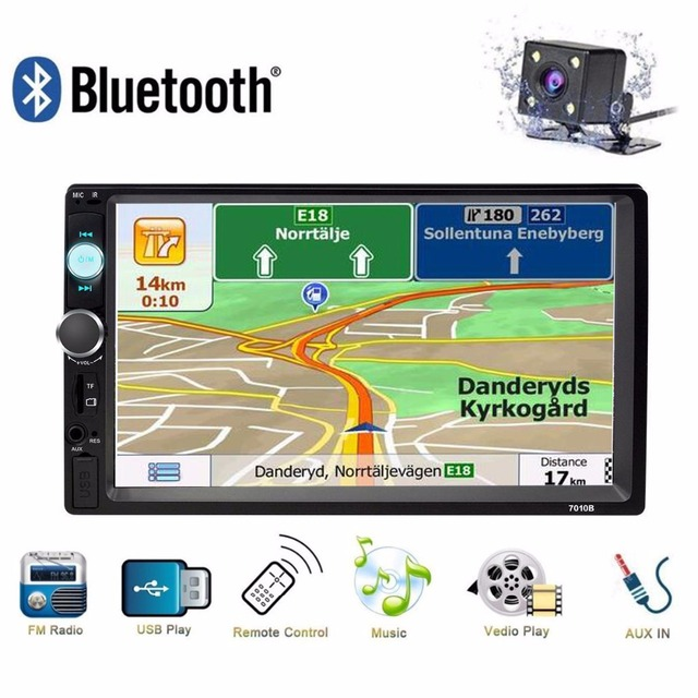 "Universal 2 Din Car Radio Bluetooth GPS Navigation 7"" HD Car MP5 Player Audio Stereo Multimidia Autoradio USB AUX FM Mirror Link"