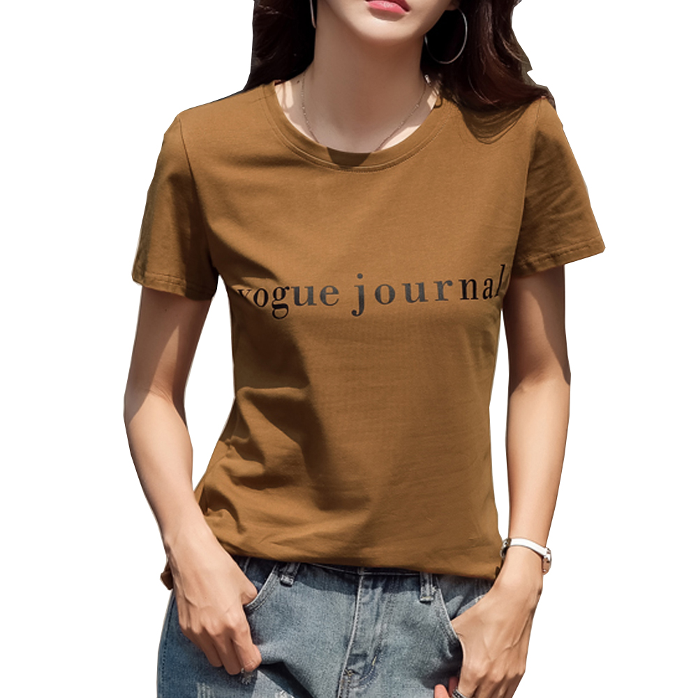 Women 39 S O Neck T shirt Summer Cotton T Shirt Women Casual Letter Printing Tee Shirt Female Short Sleeve Top Tees in T Shirts from Women 39 s Clothing