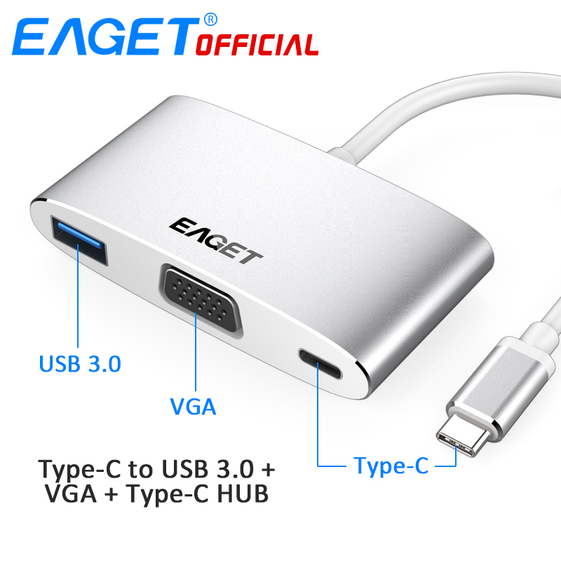 EAGET CH12 4 In 1 Type-C to USB 3.0 + VGA + Type-C HUB Multifunctional Docking Station Connect for Macbook Xiaomi Huawei Laptops