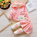 Cute Baby Girls Hooded Set Toddler Children Set Clothing 2017 Spring Autumn Dot Print Infant Outfit High Qulity 2PCS 0-3Years