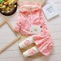 Meninas bonitos Do Bebê Conjunto Com Capuz Criança Crianças Conjunto de Roupas 2017 Primavera Outono Dot Impressão Infantil Roupa de Alta Qulity 2 PCS 0-3Years
