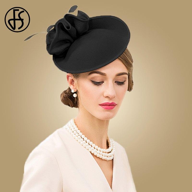 Image 2 - FS British Hats For Women 100% Wool Pillbox Hat Khaki Felt Fedora Vintage Flower Wedding Fascinator Ladies Derby Church Hat-in Women's Fedoras from Apparel Accessories