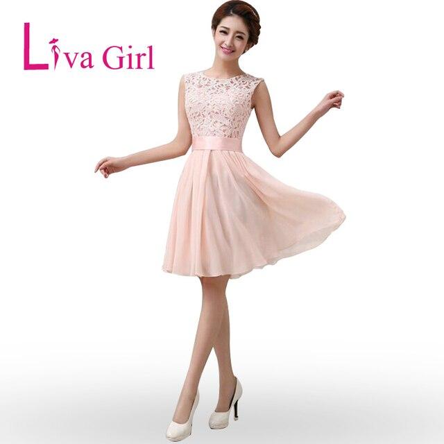 Liva Girl Wedding Party Dress Short Elegant Chiffon Lace Dresses For ...
