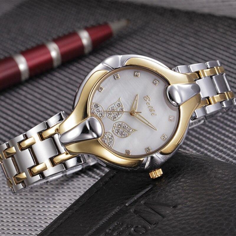 Hoja de oro Diseño de esfera Relojes de pulsera de lujo para mujeres - Relojes para hombres - foto 4
