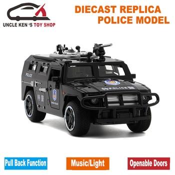1/32 escala modelo de fundición GAZ Tigre 15Cm réplica en metal coche niños de juguetes con caja de regalo/caja de sonido/luz/Atrás función