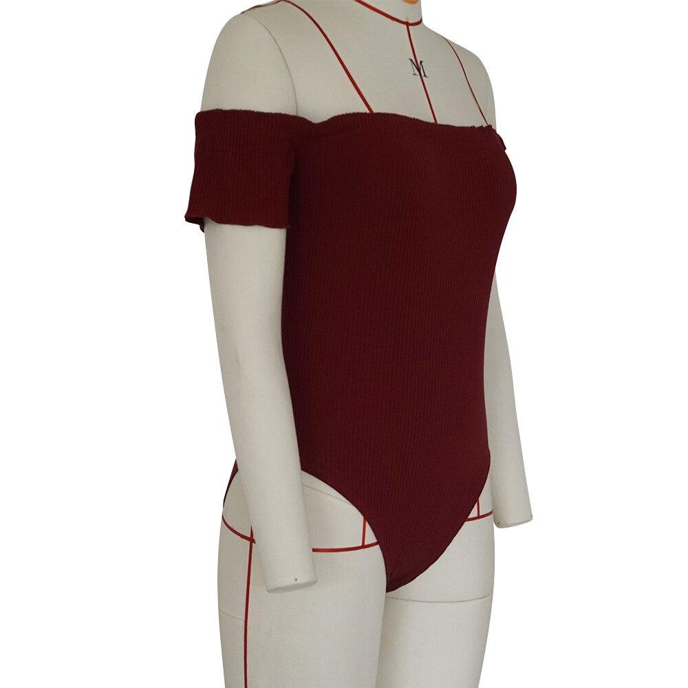 Summer Romper Knitted Playsuit Overalls Wine Red Off Shoulder Jumpersuits For Women 2018 Slim Bandage Bodysuit KG0344H