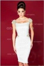2015 mantel Kappen-hülsen-knie-länge White Perlen Satin Short Mini Homecoming Kleider Cocktailkleider
