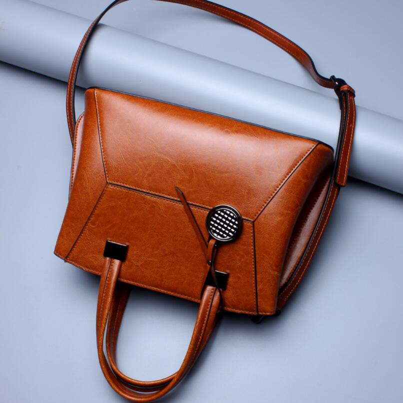 FoxTail & Lily New Brand 2018 Oil Wax Leather Handbags Women Shoulder Messenger Crossbody Bags Genuine Leather Casual Tote Bag new 2017 fashion brand genuine leather women handbag europe and america oil wax leather shoulder bag casual women