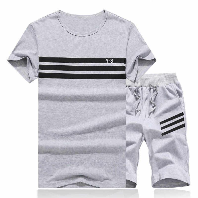 Модные мужские шорты, летний спортивный костюм для фитнеса, Брендовые мужские шорты + футболка, мужской спортивный костюм, комплекты из двух предметов, плюс размер 4XL