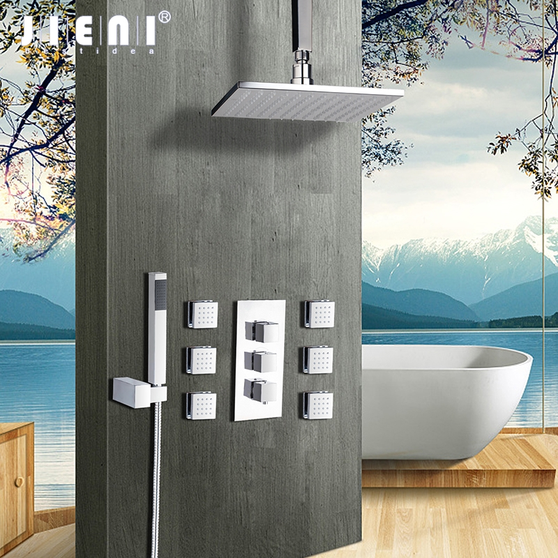 8 10 12 16 Inch Shower Head Square Chrome Brass Message Jets Shower Set Wall Mounted Rainfall Bathroom Kit Hand Shower