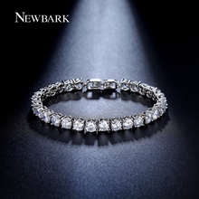 NEWBARK Silver Color Charm Bracelet Crystal Tennis Wedding Chain strand Round Created Crystal Stone Bracelets Bangles