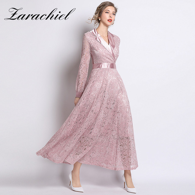 11e9f33ef4 Elegant Slim High Waist Satin Patchwork Notched Collar Vintage Pink Lace  Dress 2019 Spring Hollow Out A-Line Women Long Dress