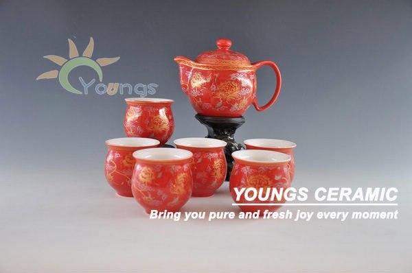 7 pcs set chinese red color glazed ceramic teaware set