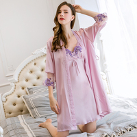 Women Summer 100% Real Silk Robe Gowns Set Lace Embroidery Sexy Suit Natural Silk Bathrobe+Nightdress 2 Pieces Sleepwear