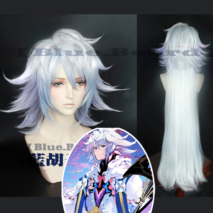 FGO Fate Grand Order Cosplay Wig Servant Caster Merlin Mixed Colors Long Synthetic Hair