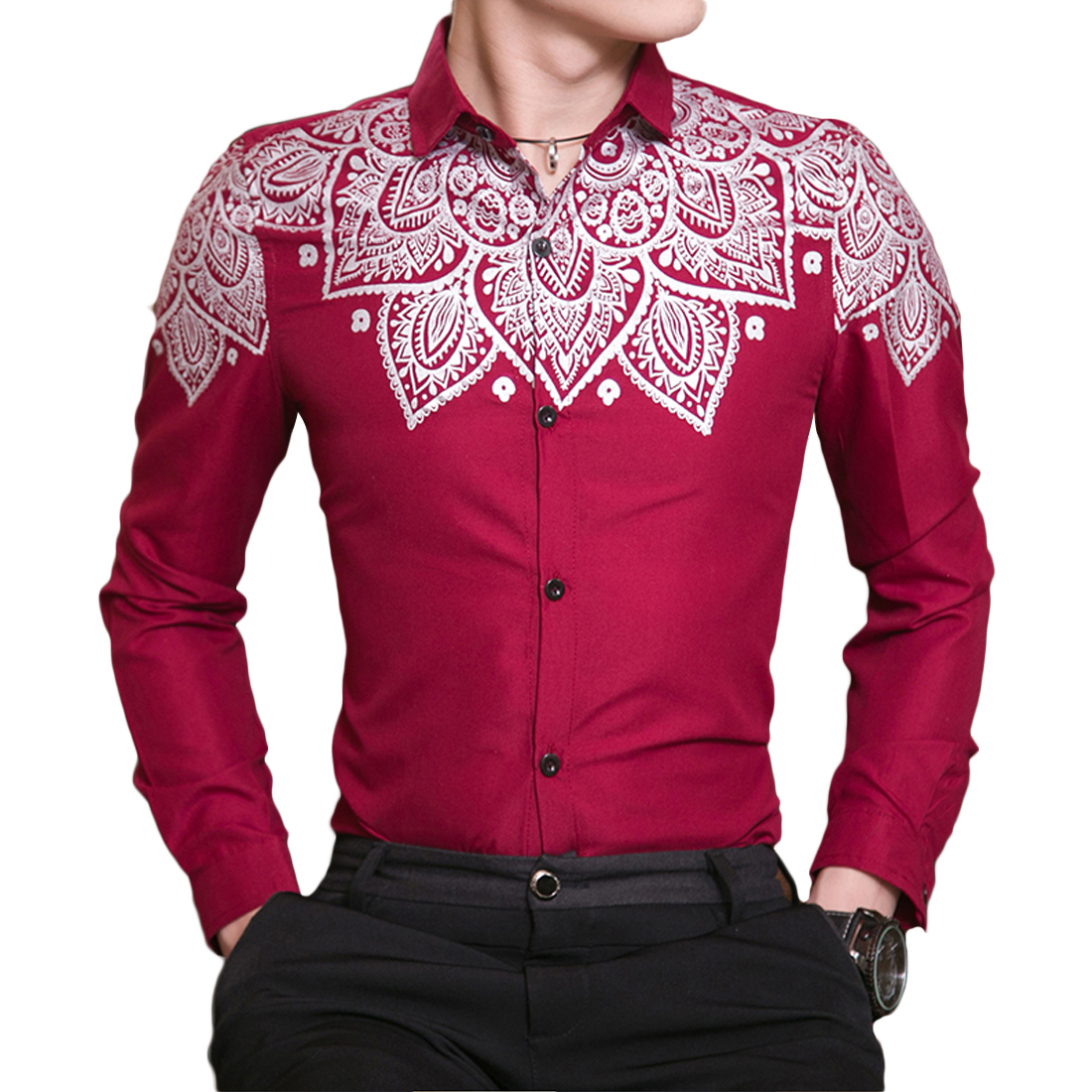 Red Black Blue Floral Printed Wedding Party Men Shirts 2017 Plus Size Button Up Slim Noble Brand Clothing Long Sleeve Camisa