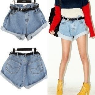Free Shipping 2015 hot selling Plus size women blue retro high waist baggy jeans shorts fashion loose zip Denim Hotpants