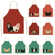 Cute Pug Bulldog Dog Cat Printed Kitchen Aprons Cotton Linen Home Cooking Baking Coffee Shop Cleaning Accessory 53*65cm MA0001