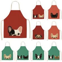 Delantales de cocina estampados con diseño de perro Bulldog, lino y algodón, para cocinar en casa, tienda de café, accesorio de limpieza, 53x65cm, MA0001