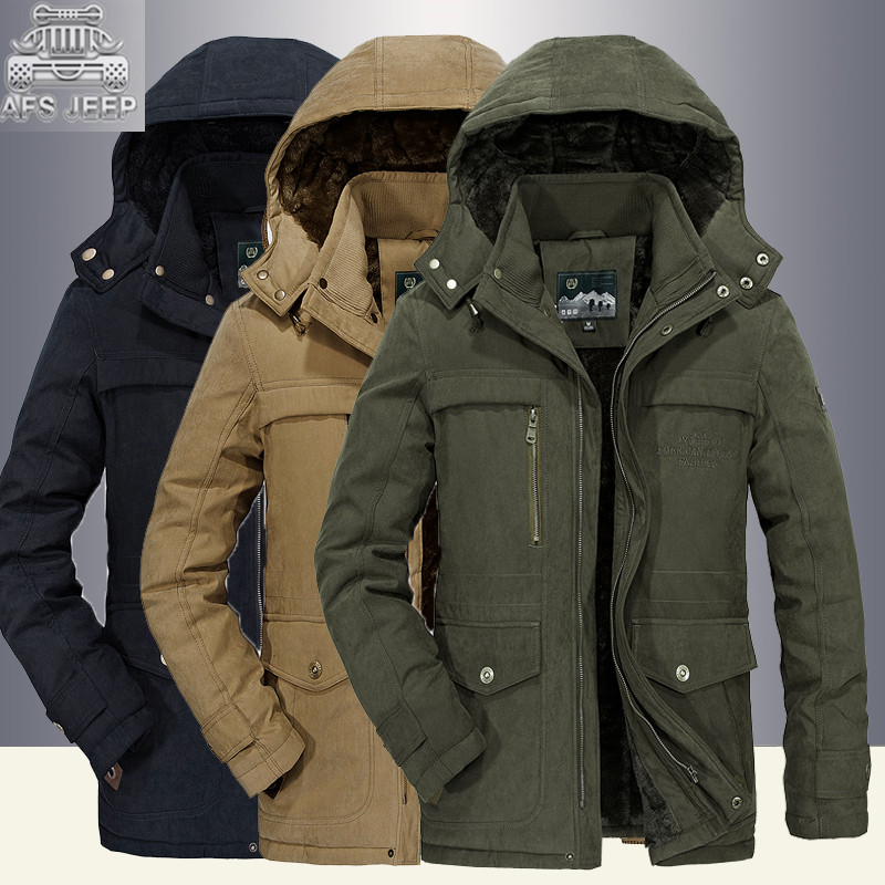 -30 Degree Snow Winter Windbreakers Size M-5XL Men Down Jackets and Coats Thick Army Military Male Parkas Brand AFS JEEP Casual