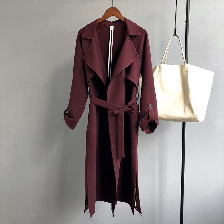 2019 Women Spring   Trench   Coat Elegant Women Long Coat Casaco Feminino Tops For Women Open Stitch Burgundy   Trench   Coat Outerwear