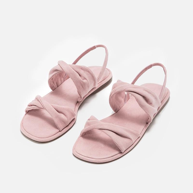 Décoration Nœud Simple Style Décontractées Couleur Mode Nouvelle Femmes rose Confortable Double Solide De Chaussures Mignon bleu Noir Sandales 2019 Été q6P7F6At