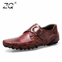 ZOQI British Style Men's Sneakers Casual Shoes Moccasins Genuine Leather Flats Loafers Men Breathable Footwear Zapatos Hombre