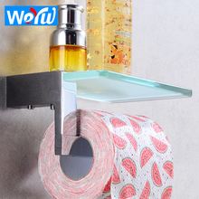 Brass Toilet Paper Holder with Shelf Glass WC Tissue Paper Towel Holder Rack Wall Mounted Bathroom Roll Paper Holder Creative