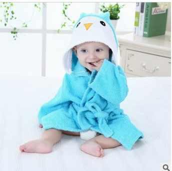 100% Cuttons Hooded Animal Baby Bathrobe Cartoon Baby Towel Character Kids Bath Robe Infant Towel