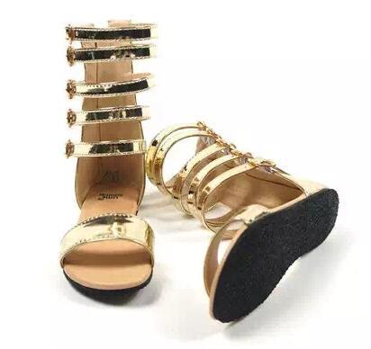 جديد الصيف طفل الفتيات مصارع الصنادل الرومانية الأطفال جلد طبيعي للأطفال عالية أعلى الصنادل طفلة الأزياء والأحذية