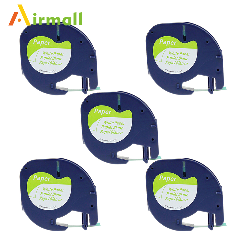Airmall 5 pcs lot 12mm 4m 91200 black on white compatible DYMO LetraTag Tape Label paper