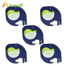 Airmall 5 штук в партии 12 мм * 4 м 91200 черный на белом совместимый Dymo letratag Клейкие ленты label бумаги для Dymo Этикетки ленты для принтеров A91330