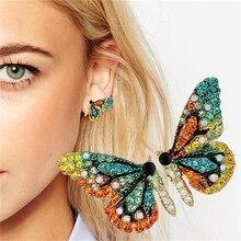 Girls Women Alloy Butterfly Stud Earrings Super Fairy Earrings Crystal Rhinestone Female Earrings Boho Jewelry pair of rhinestoned alloy butterfly earrings