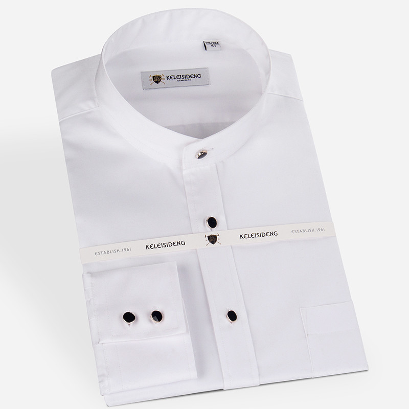 Excellent Pure Cotton Mandarin Collar Long Sleeve Solid Dress Shirts For Men Soft Comfortable Well Fit Male Tops