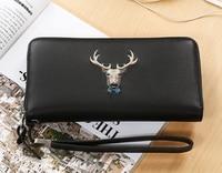 2017 Men Clutch Bag long section soft Genuine Leather Deer pattern wallet Men's Handbag Purse large-capacity Business Clutch Bag