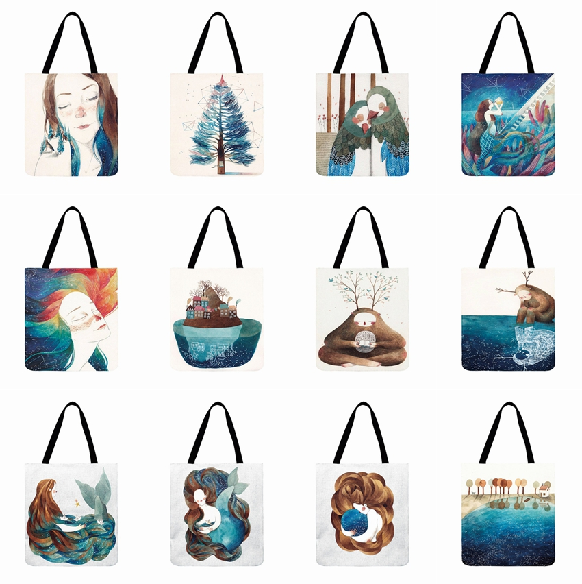 Ladies Shoulder Bag Linen Fabric Bag Cartoon Painting Printed Tote Bag Outdoor Beach Bag Reusable Shopping Bag Daily Hand Bag