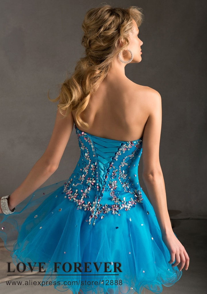 Aliexpress.com : Buy Ball Gown Purple Blue Tulle Corset Back ...