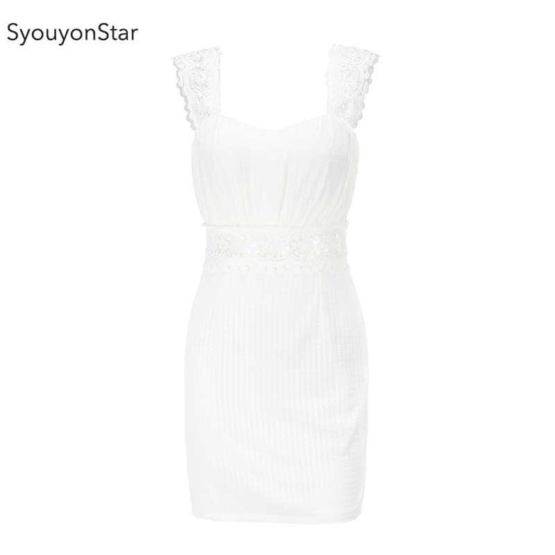 SyouyonStar Белое Кружевное Платье женское 2019 сексуальное облегающее вечернее платье на бретельках летние платья мини