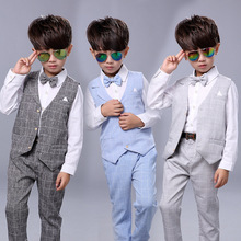 2016 Новый Baby Boy Одежда Набор Свадьба С Галстук 2 шт плед Шаблон Жилет + Брюки Набор Осень для Мальчика Одежда костюм