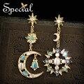 Специальный новинка синтетический опал солнце и звезды серьги ювелирные эмали подарки для женщин ED160118