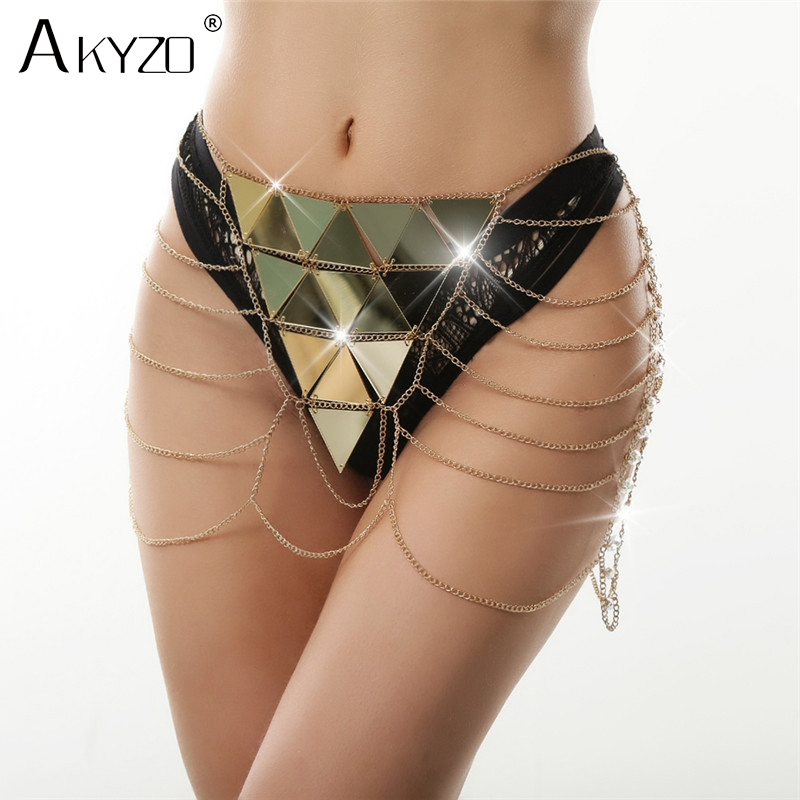 Akyzo Acrylic Sequin Metal Chain A Line Skirt Women Sexy Hollow Out Handmade Patchwork Nightclub Beach Party Gold Mini Skirt Packing Of Nominated Brand
