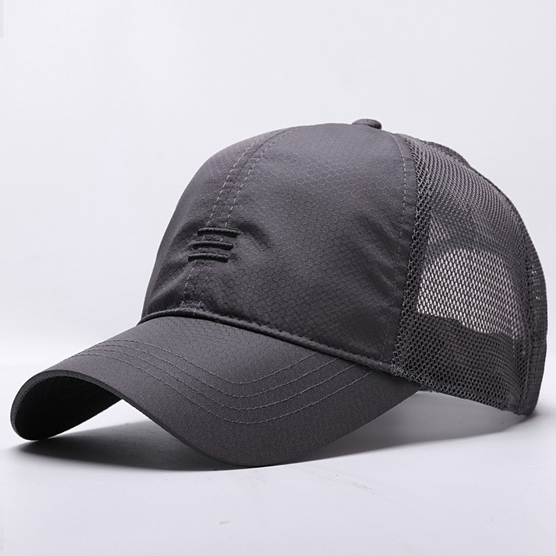 Male Large Size Peak   Cap   Men Summmer Mesh Truker Hats Big Bone Man Dry Quickly Cool   Baseball     Caps   M 55-60cm L 60-65cm