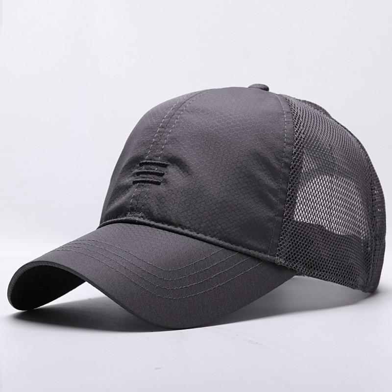 Male Large Size Peak   Cap   Men Summmer Mesh Truker Hats Big Bone Man Dry Quickly Cool   Baseball     Caps   M 55-60cm L 60-65cm