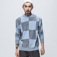 2017 Autumn Winter New Solid Sweater Men Plaid Stitching Sweater Hit Color Pull Sueter Hombre Knit