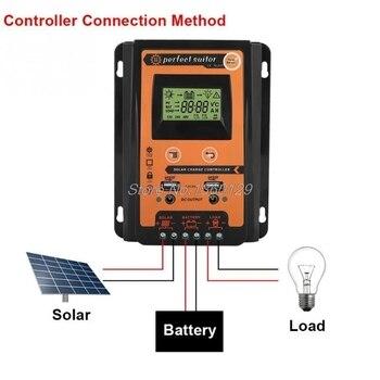 Panel Solar Con Batería   Controlador De Carga 12V24V 30A50A70A MPPT Controlador De Carga Solar Panel Solar Regulador De Batería Dual USB Pantalla LCD De Alta Calidad